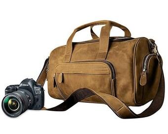 Large Camera Bag, Dslr Camera Bag, Leather Camera Bag, Dslr Bag, Camera Bag, Camera Bag For Women, Women Camera Bag, Brown Camera Bag