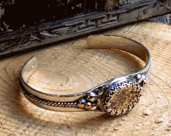 Silver gold cuff, Two tone cuff, statement bracelet, unique bracelet, statement cuff, casual simple cuff - Good Day Sunshine B3006G