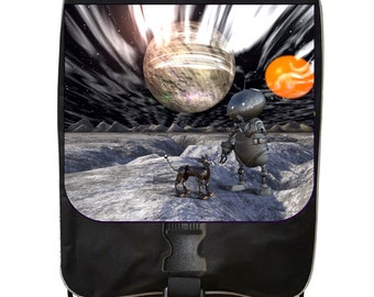 Robot and Dog in Outer Space - Black School Backpack