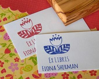 Custom Scandinavian Style Tulip Bookplate Olive Wood Stamp