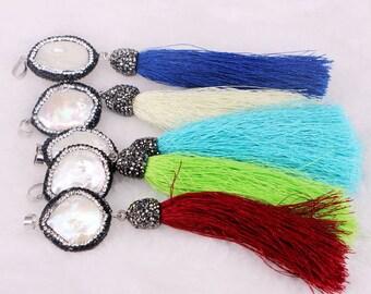 6PCS Pave encrusted pearl crystal tassel pendant, Pearl Pave Cap Silk Tassel Pendant
