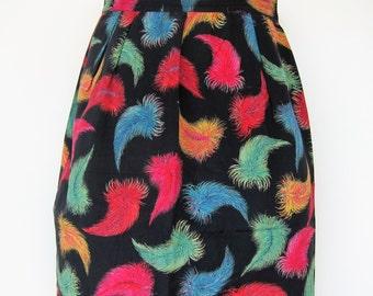 Silk LANVIN Paris vintage 1980s feather skirt