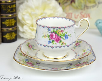 Royal Albert Petit Point Teacup and Saucer Trio, English Bone China Tea Cup Set With Bread And Butter Plate, Replacement China, ca. 1940