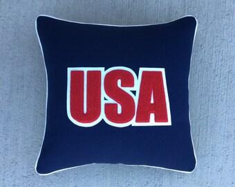 USA America Wool Letterman Pillow