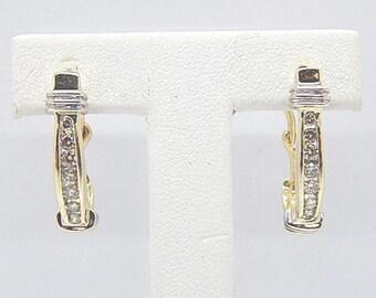 14k Two Tone Gold 1/2 Carat Full Cut 14 Diamond Channel Set Loop Earrings 1 inch