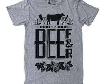 Gift for Dad, Foodie Gift, Mens Gift, Chef Gift, Graphic Tee - Beef and Beer