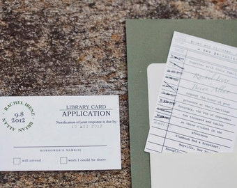 Library Card Wedding Invitation