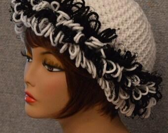 Womans Loop Beanie in White & Black