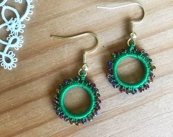 Green tatted hoop earrings with beads
