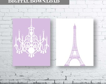 Eiffel Tower Chandelier Prints Set of Two (2)-Instant Download. Paris. French. Wall Art. Home.Decor Baby Girl Room Nursery.Purple French Art