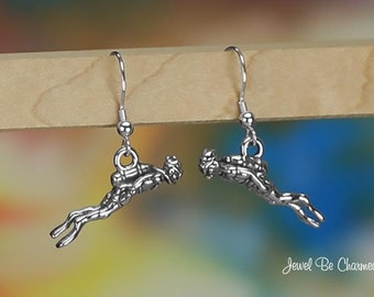 Sterling Silver Scuba Diver Earrings Pierced Earwires Solid 925 Diving