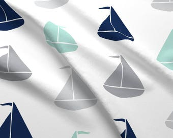 Summer Sailing Fabric - Grey Mint Navy By Graceandcruzdesigns - Summer Nautical Nursery Cotton Fabric By The Yard With Spoonflower