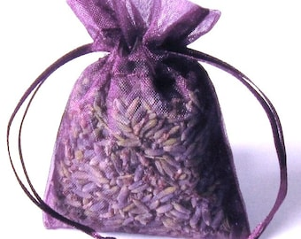Lavender Sachets Organic 12 pack PLUM color 2x3 lavendar sachets aromatherapy freshly made fro you