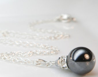 Black Pearl Necklace, Bridesmaid Jewelry, Charcoal Swarovski, Sterling Silver, Wedding, Bridal Party Handmade Jewelry