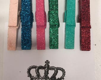 Glitter Clothes Pins-Large Glitter Clothes Pins-Glittered Clothes Pins-Large-Party Prop-Wedding Clothes Pins-6 glittered clothes pins