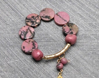 On Sale:15% off. Pink Bracelet, Elastic, Pink Grey Rhodonite Beads, Gold Filled Tube With Charm , Rustic, For Any Outfit