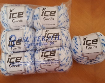 Blue and White Chenille Yarn - 7 Balls