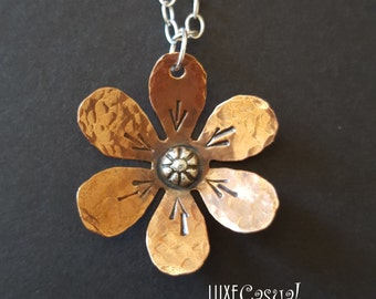 Boho Flower Necklace, Copper and Sterling Silver Necklace, Mixed Metals Hammered Copper Jewelry
