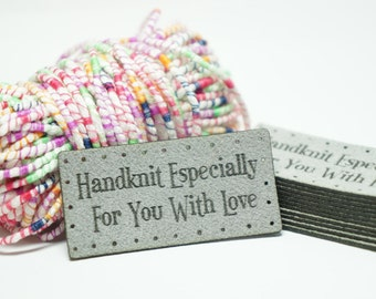 handknit especially for you labels with holes for easy attaching
