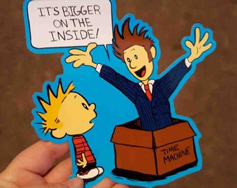 """Doctor Who Tenth Doctor Calvin and Hobbes Time Machine """"It's Bigger On The Inside"""" Crossover Sticker"""