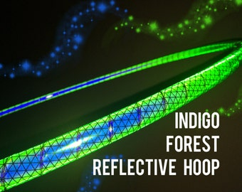 """Indigo Forest Reflective HDPE or Polypro 5/8"""" 3/4"""" Dance & Exercise Hula Hoop - NOT an LED hoop"""