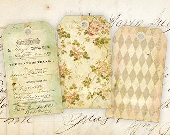 Digital collage sheet Printable gift tags Instant Download Vintage images Paper craft Scrapbook - OLD PAPER