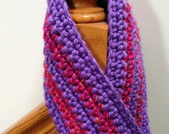 Pink and Purple Cowl Neckwarmer Bulky Weight Crocheted Infinity Scarf