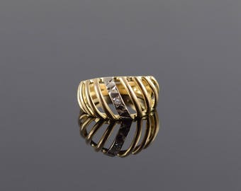 Diamond Puffy Cage Two Tone Band Ring Size 7 Gold