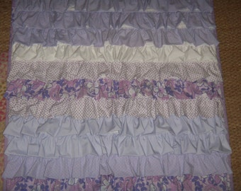 Purple Ruffle quilt & pillow cover set