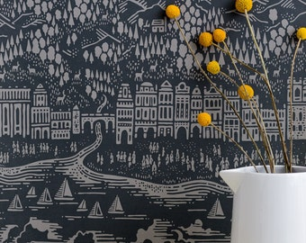 Province Wallpaper in Graphite - 10m x 52cm roll