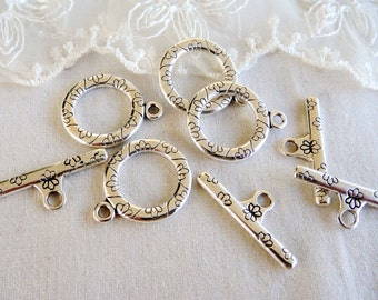 Set Antique Silver Plated Toggle Clasps, Large Toggle Clasp, T Bar Toggle Clasp, Finding 20mm- Pk 1 set