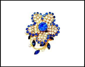 Blue & Clear Rhinestone Brooch, Large Tiered Flower, Blue Flower Brooch, Bridal Bouquet, Runway Style, Graduation Mothers Day Gift For Her