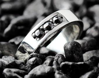 Wedding Band Wedding Ring Black Diamond Ring Black Diamond Black Diamond Band Diamond Ring Diamond Wedding Band Diamond Band Silver Band