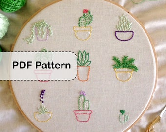 Cacti and Succulents Embroidery Pattern PDF