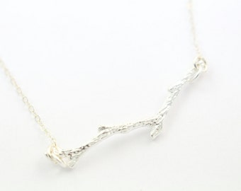 Silver Twig Necklace - Minimal Delicate Necklace - Pretty Branch Necklace - Simple Tree Jewelry