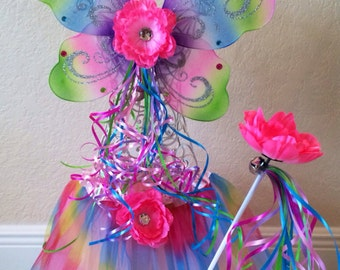 Rainbow Tutu, Fairy Costume, Fairy Wings, Fairy Party Favors, Rainbow Wings, Tinkerbell Tutu, Pink Fairy Costume, Pink Fairy Wings