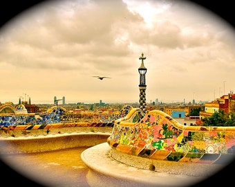 Fly -Spain Print, Gaudi Architecture, Parc Guell, Sunset, Vintage Photography, Barcelona Landscape, Nostalgia, Beautiful Park, Orange Decor