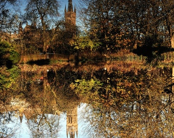 Glasgow University reflection. Fine art photography print. Wall art. Wall decor. Contemporary art. Glasgow photography. Scottish photography