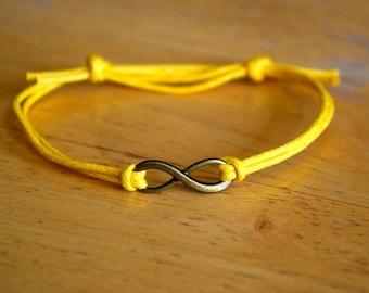 Infinity Bracelet, Waxed Cotton Bracelet, Adjustable, Antique Bronze Infinity Charm, Waxed Cotton, Infinite Love, Friendship Gift