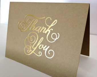 """Kraft-""""Thank You"""" Card, Gold Foiled"""