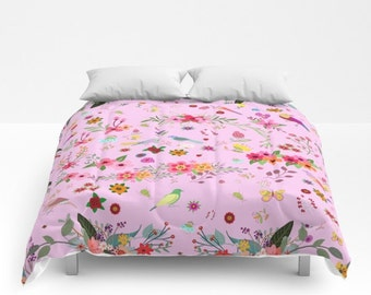 Pink Flowers comforters-Colourful poppies bedding-Custom bed linens-Cactus King bedding-Blue cherry blossom Queen bedding-Modern home decor