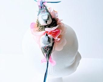Floral Lovebird Headpiece - One of a Kind Fascinator Bridal Wedding Festival Crown