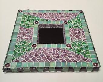 Green and Purple Mosaic Mirror