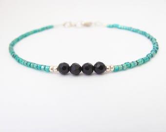 Black Onyx Bracelet, Gemstone and Seed Bead Bracelet, Friendship Bracelet, Minimal Minimalist Dainty Delicate Yoga Zen Onyx Jewelry