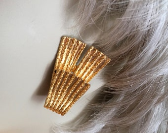 Vintage Mosell Brushed Gold Fan Earrings Clip On