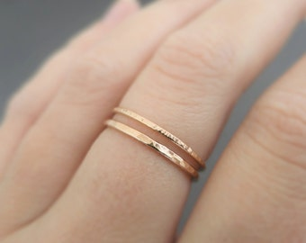 Rose Gold Rings 2 minimalist super slim hammered stackable rings gifts for her - thumb ring - midi ring - knuckle ring