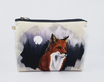 Fox Cosmetic Bag Travel Pouch Make Up Bag Toiletry Travel Zipper Pouch Cosmetic Bag Cosmetic Case