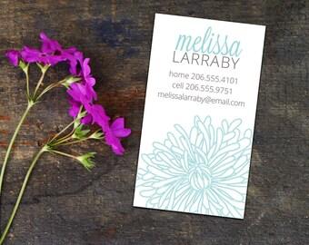 Peeking Chrysanthemum Calling Cards, Business Cards, Set of 50 Cards, Set of 100 Cards, Personalized Contact Cards, Floral Calling Cards