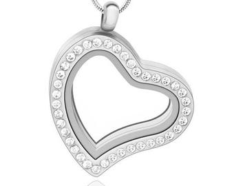 Modern silver heart floating memory locket with birthstones and lanyard