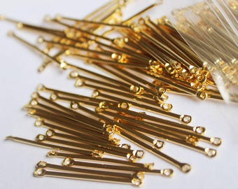 10pcs. 30MM 24k Gold Plated Brass Round Long Bar Connector Stick Link Bracelet Earrings Necklace Jewelry Making